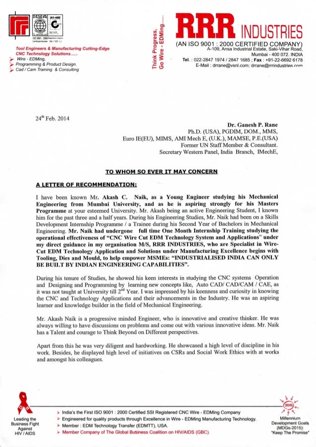 industrial letter of recommendation