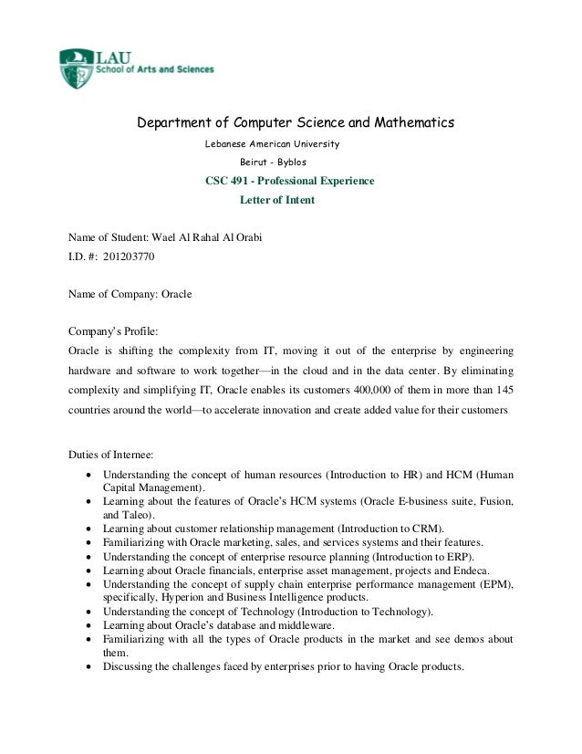 Internship Letter Of IntentWael