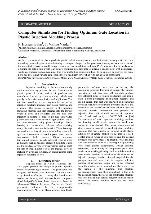P. Hussain babu1et al Int. Journal of Engineering Research and Applications ISSN : 2248-9622, Vol. 3, Issue 6, Nov-Dec 201...