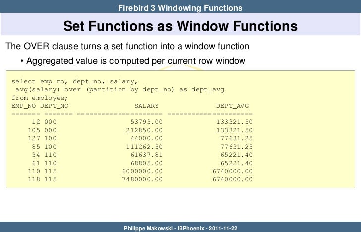 Firebird 3 windows functions for Window functions