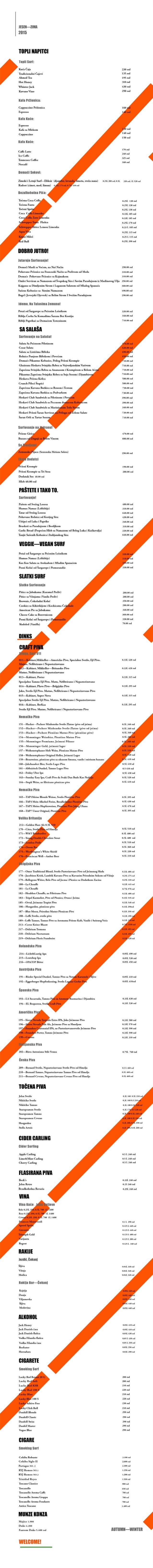 our menu