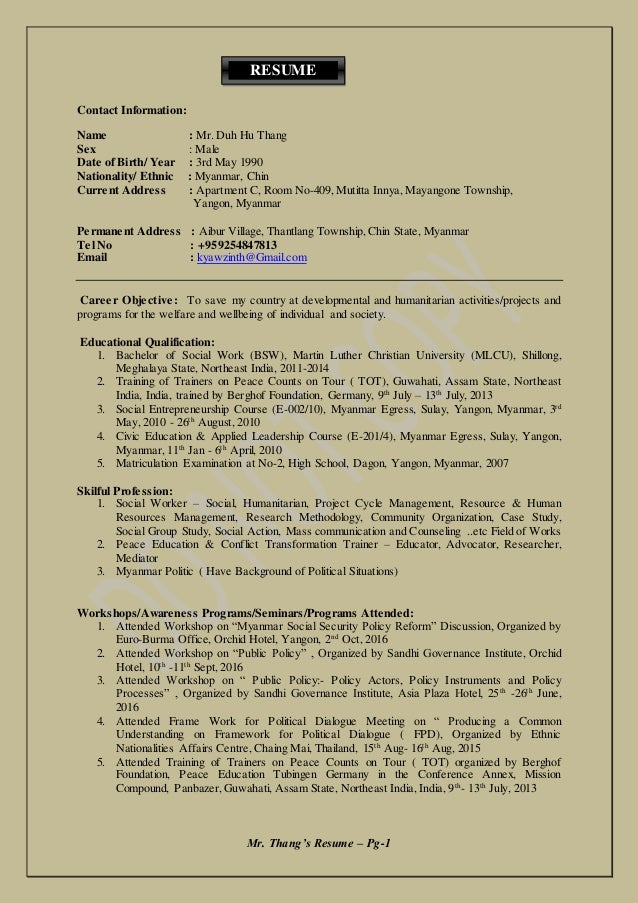 Resume of Thang