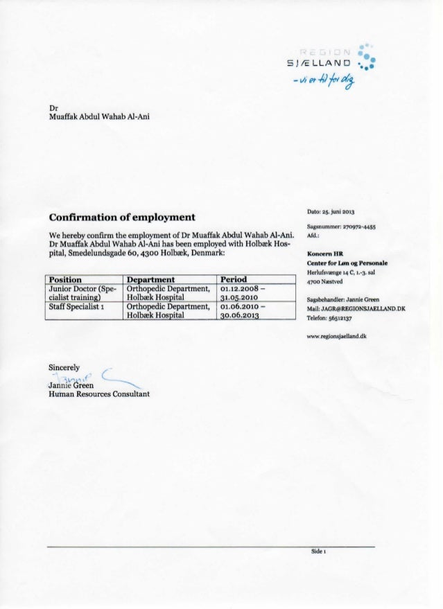 5 J / E L L A N D . Dr Muaffak Abdul Wahab Al Ani Confirmation Of  Employment We