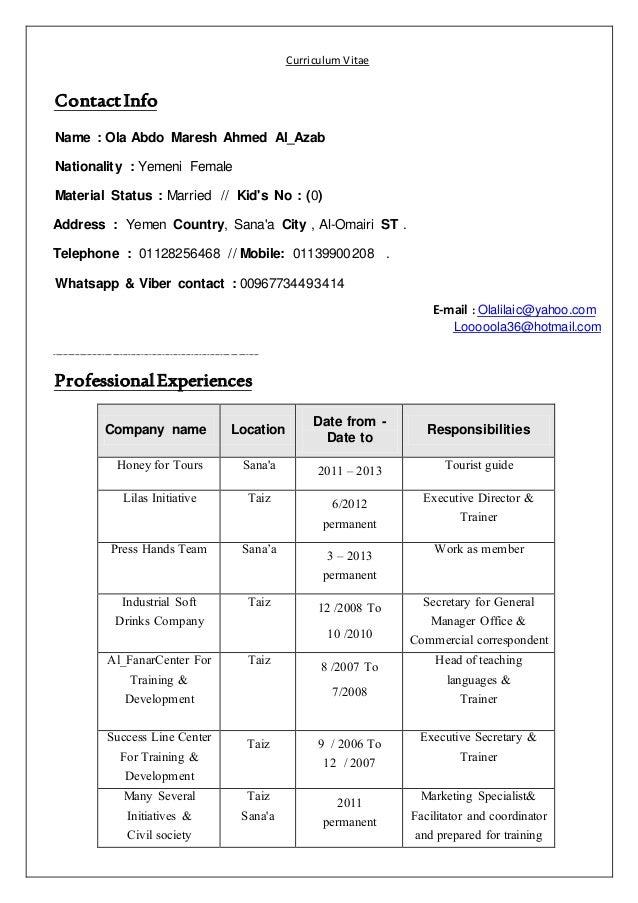 Curriculum Vitae Malaysia
