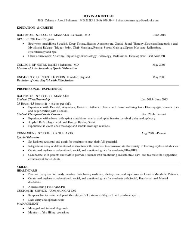 massage therapy resume