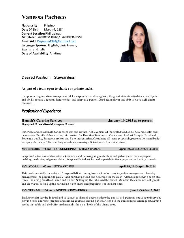 cv stewardess CV latest