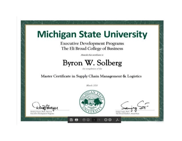 Michigan State University Master Certificate in Supply ...