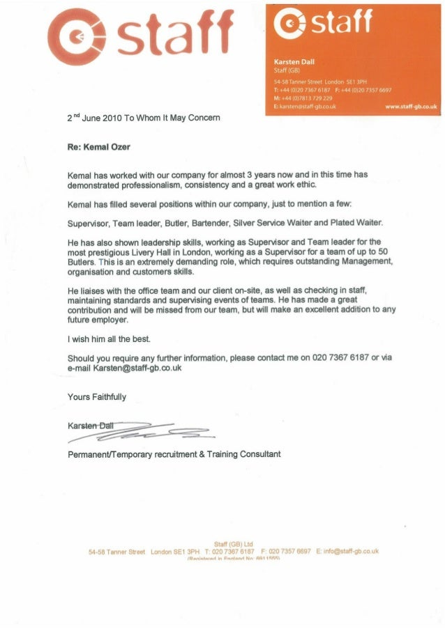Staff Reference Letter