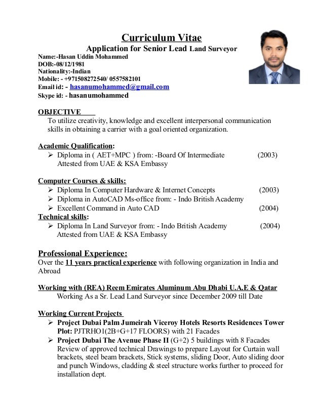 curriculum vitae application for senior lead land surveyor name hasan uddin mohammed dob