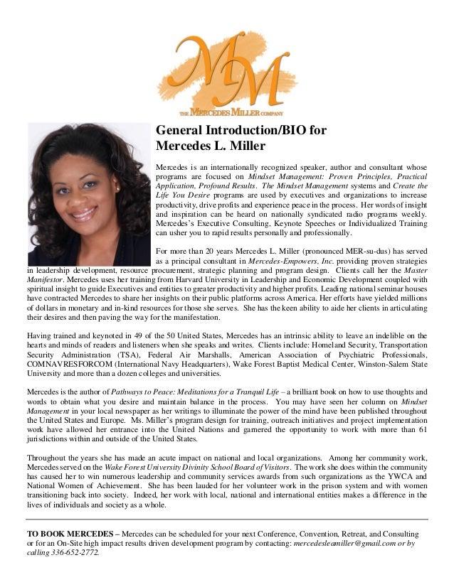Mercedes L. Miller - General Intro Bio June 2016