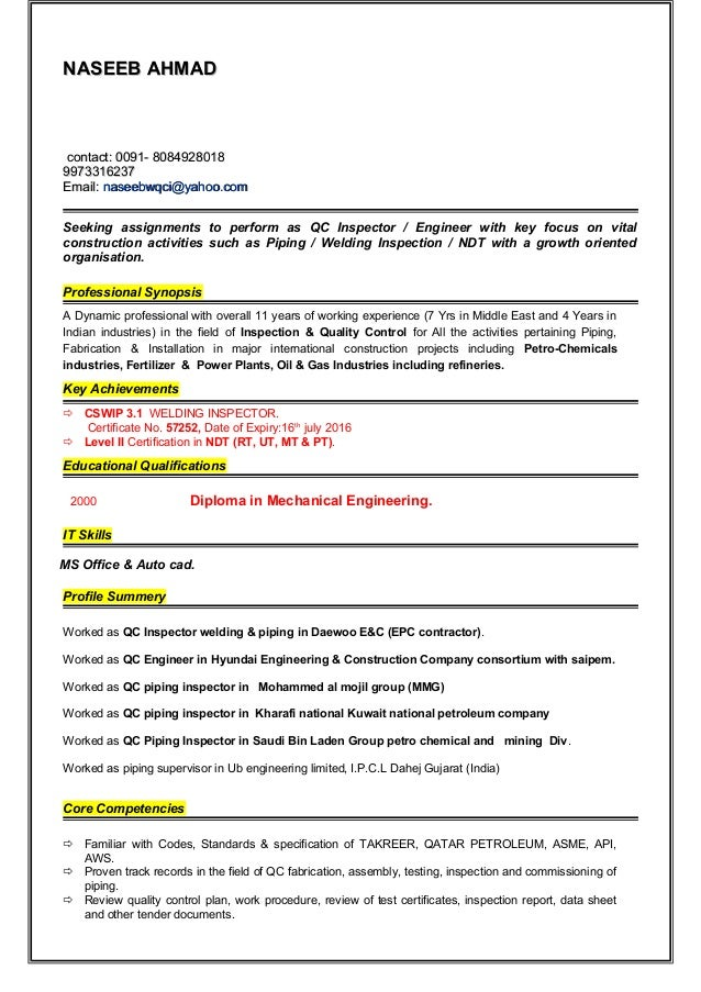 quality inspector resume tradinghub co