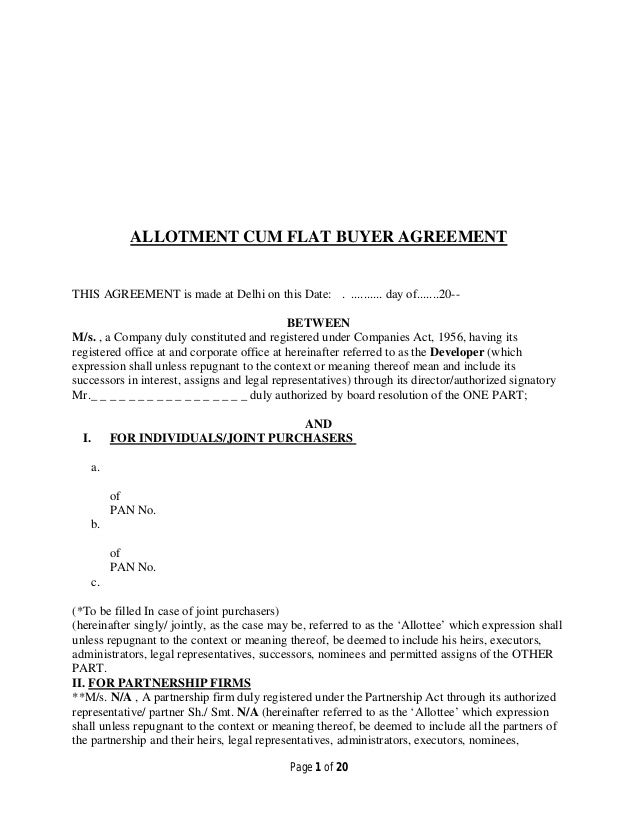 page 1 of 20 allotment cum flat buyer agreement this agreement is made at delhi on