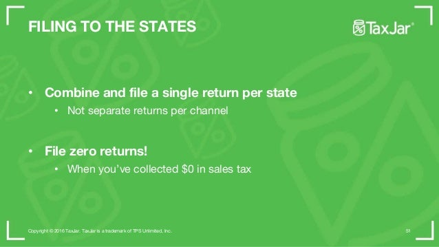 STEP 1 • Comply in your home state • Register for a sales tax license • Enable sales tax collection • Pay and file Copyrig...