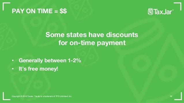 STEP 2 • Branch out to new states • Voluntary Disclosure of you have a history • TaxJar can help • Collect on all channels...