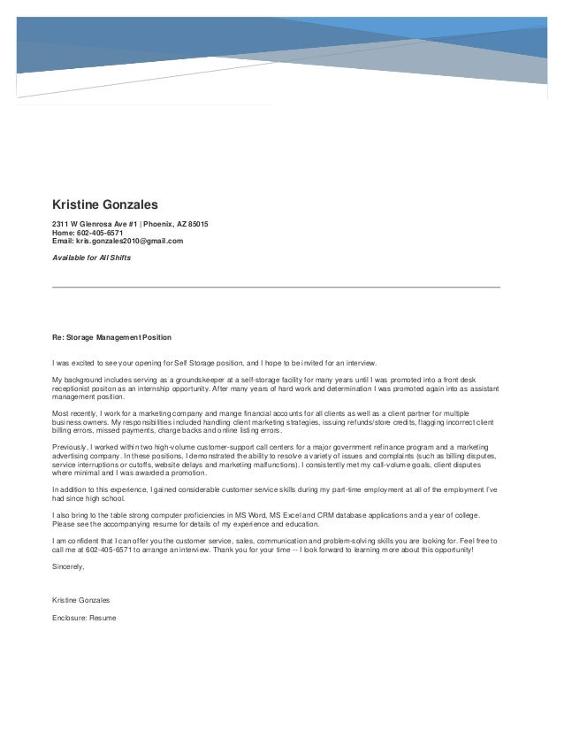 Storage Manager Resume Cover Letter. Kristine Gonzales 2311 W Glenrosa Ave  #1 | Phoenix, AZ 85015 Home: 602 ...