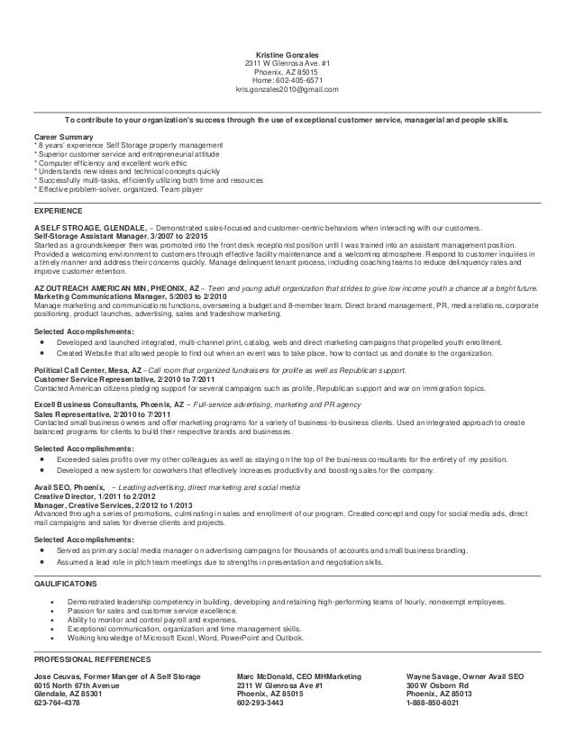Self storage manager resume
