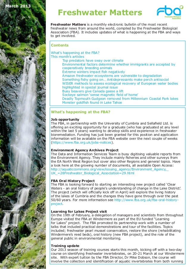 March 2013                 Freshwater Matters             Freshwater Matters is a monthly electronic bulletin of the most ...