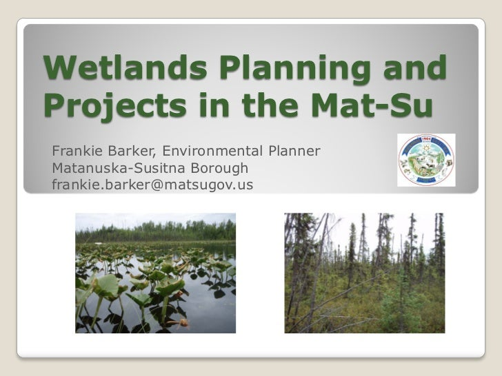 Wetlands Planning andProjects in the Mat-SuFrankie Barker, Environmental PlannerMatanuska-Susitna Boroughfrankie.barker@ma...