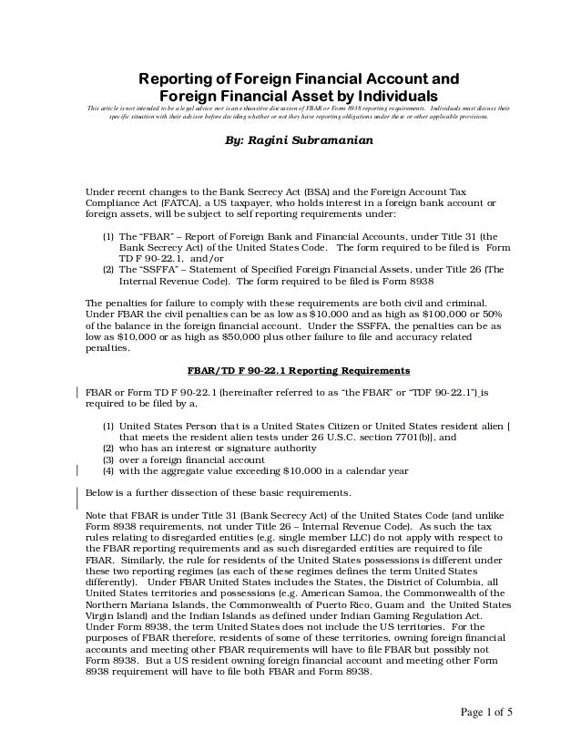 Reporting of Foreign Financial Account and                    Foreign Financial Asset by IndividualsThis article is not in...