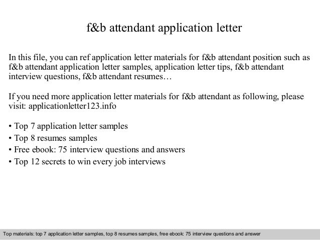 F&b Attendant Application Letter
