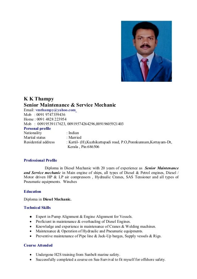 senior mechanic original cv