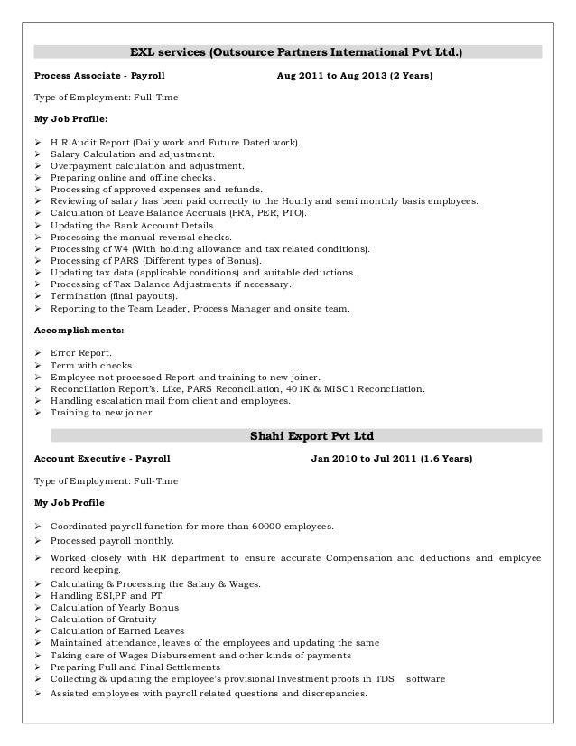 payroll resume template