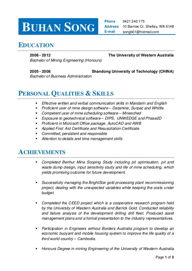 Resume-Buhan Song