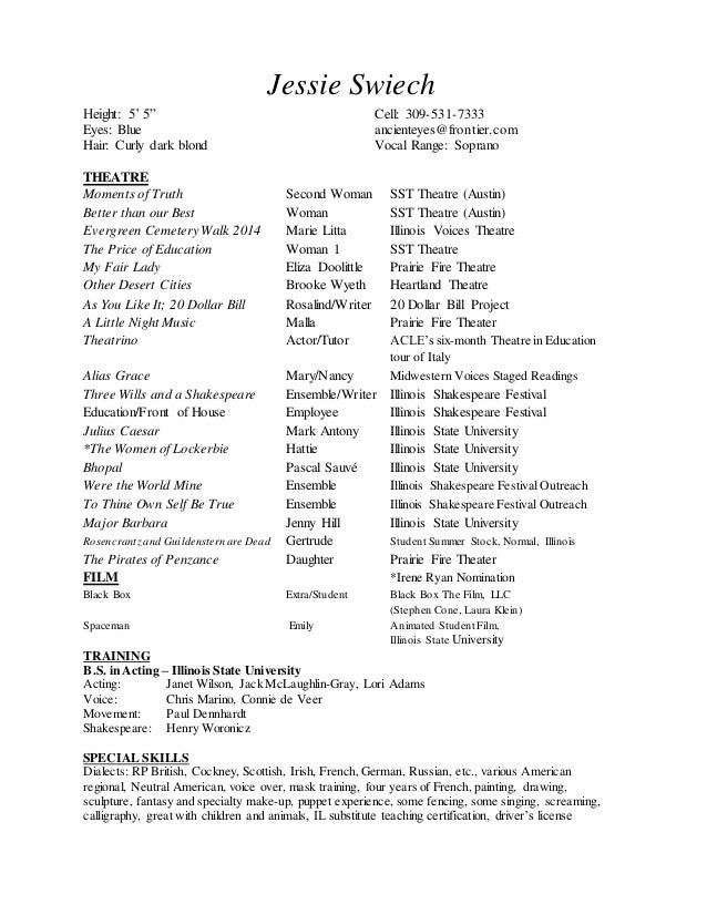 technical theatre resume templates