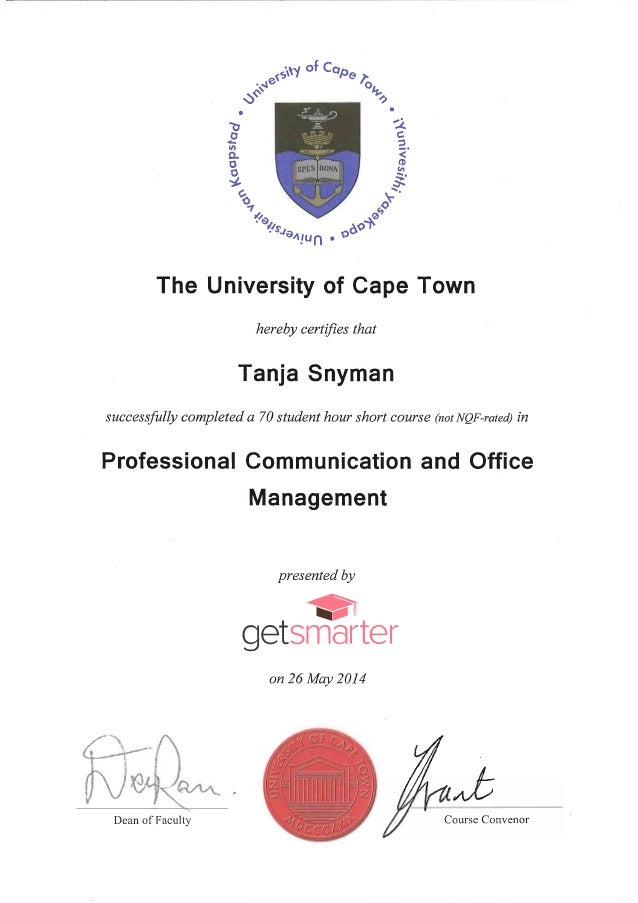 UCT Certificate