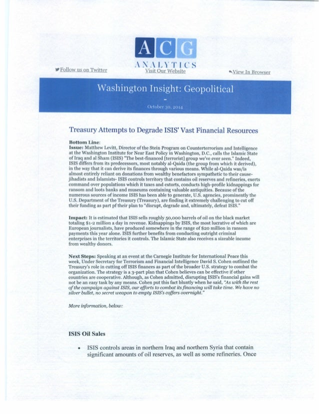 Treasury Attempts to Degrade ISIS's Vast Financial Resources_10.31.14 (2)