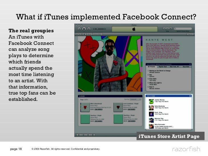 page  What if iTunes implemented Facebook Connect? The real groupies An iTunes with Facebook Connect can analyze song play...