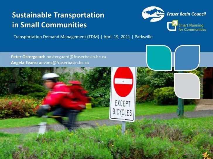 Sustainable Transportationin Small Communities Transportation Demand Management (TDM)   April 19, 2011   ParksvillePeter O...