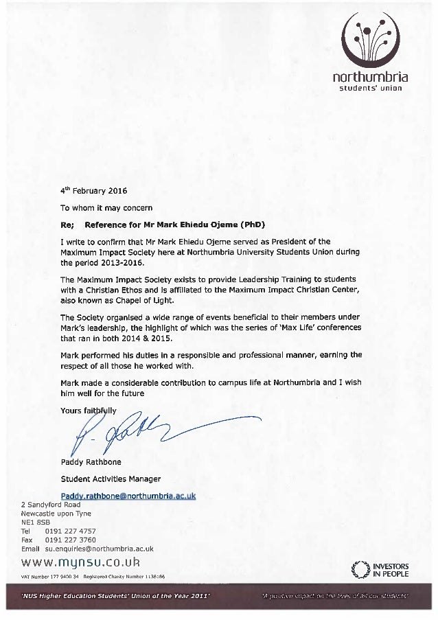 reference letter for a student