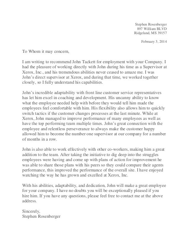 letter of reccomendation for employment