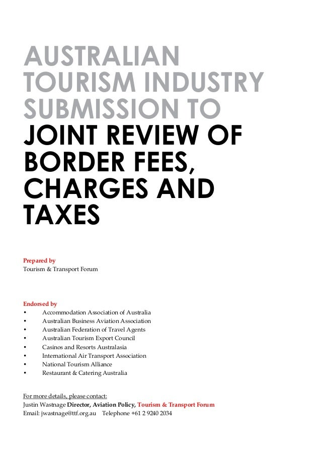 Tourism Industry Submission- Border Fees and Charges