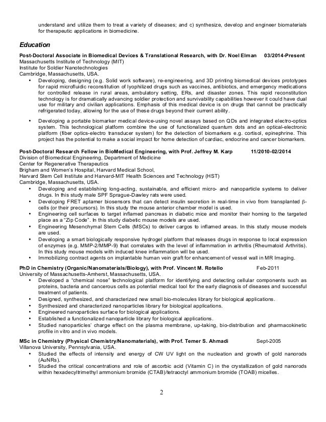 resume for faculty position