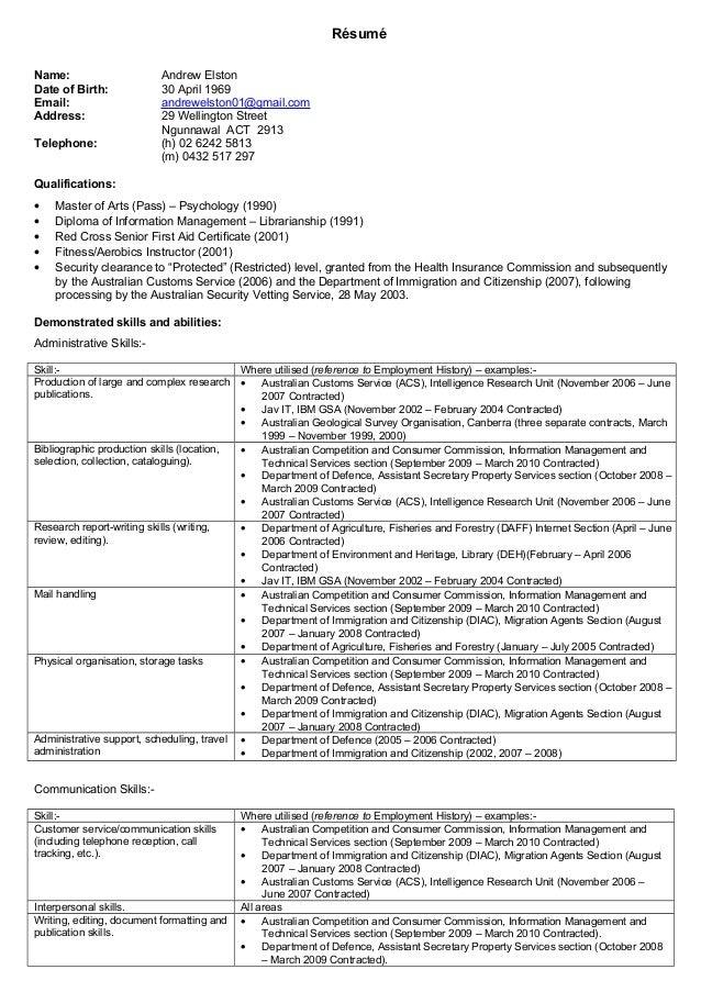 resume admin 2015