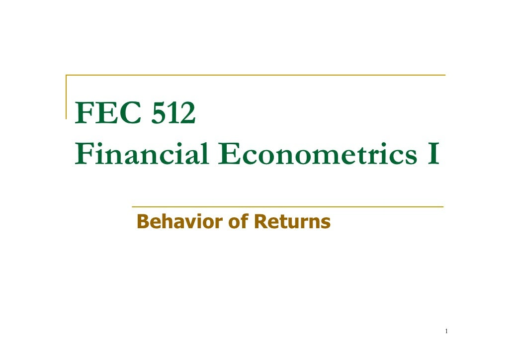 FEC 512 Financial Econometrics I     Behavior of Returns                                1