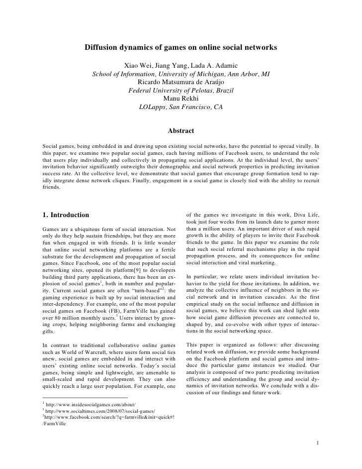 Diffusion dynamics of games on online social networks                                  Xiao Wei, Jiang Yang, Lada A. Adami...