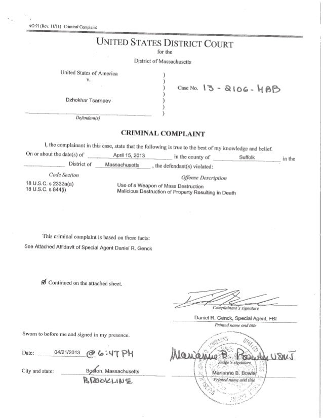 Boston Bombing:  FBI Affidavit of Special Agent Daniel R. Genck