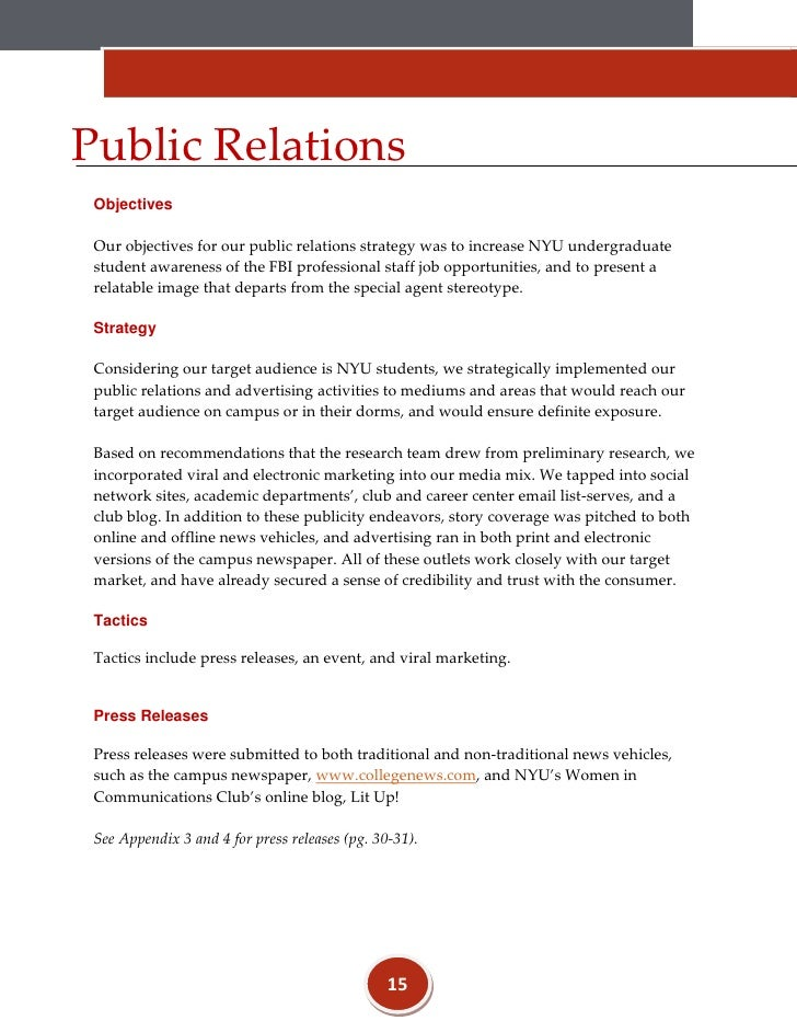 Public Relations Objectives ...