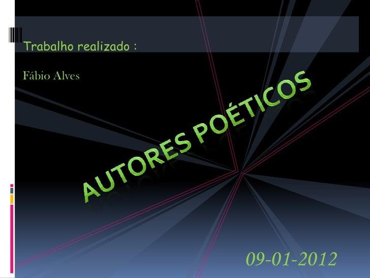 Trabalho realizado :Fábio Alves                       09-01-2012