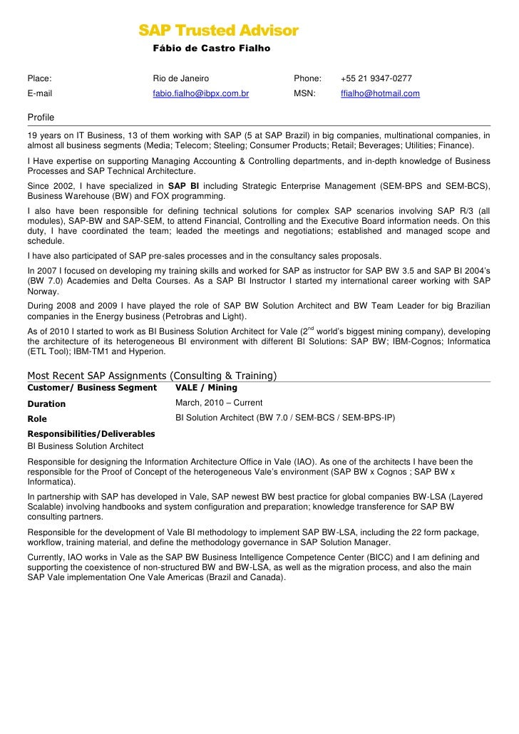 fbio fialho english resume - Sap Basis Resume Format