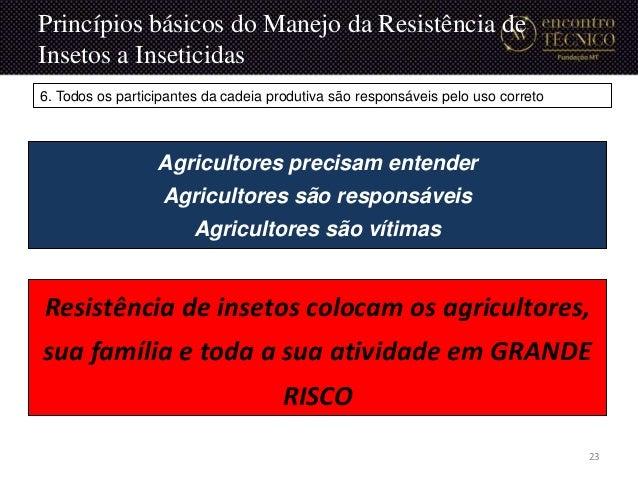 Agricultores precisam entender Agricultores são responsáveis Agricultores são vítimas Resistência de insetos colocam os ag...