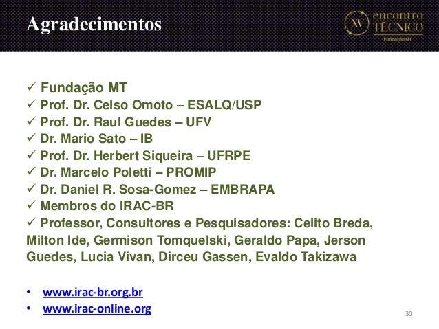 Fundação MT  Prof. Dr. Celso Omoto – ESALQ/USP  Prof. Dr. Raul Guedes – UFV  Dr. Mario Sato – IB  Prof. Dr. Herbert ...