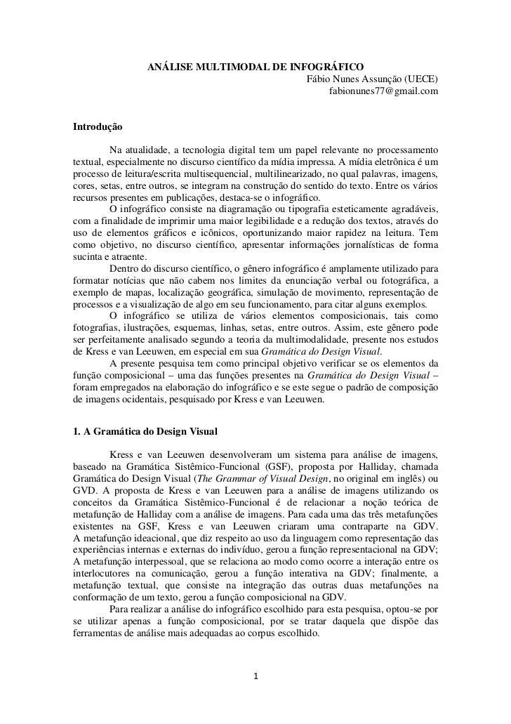 ANÁLISE MULTIMODAL DE INFOGRÁFICO                                           Fábio Nunes Assunção (UECE)                   ...