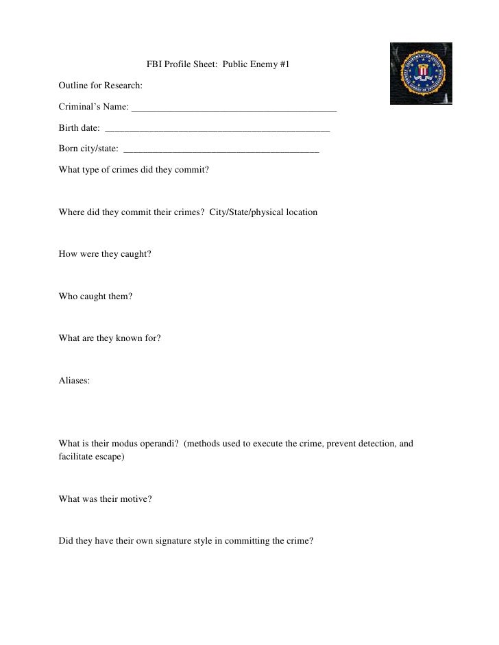 Fbi Profile Sheet