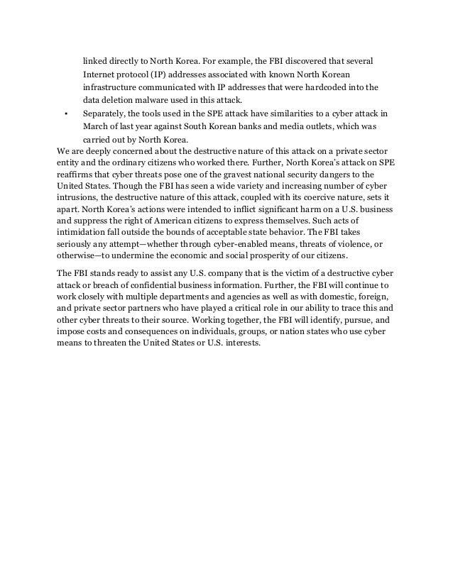 FBI Statement: North Korea is responsible for Sony hack Slide 2