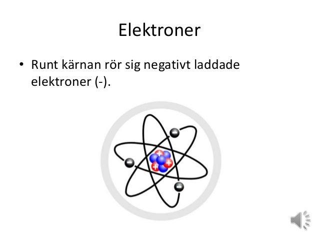 Elektroner • Runt kärnan rör sig negativt laddade elektroner (-).