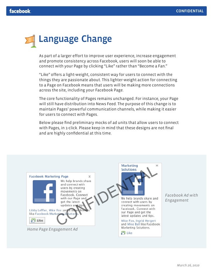 CONFIDENTIAL          Language Change      As part of a larger effort to improve user experience, increase engagement     ...